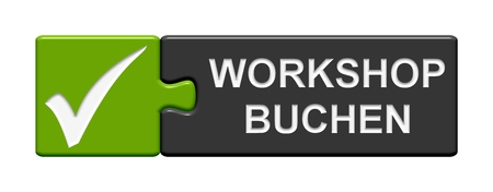 night school: Isolated Puzzle Button with symbol showing book workshop in german language Stock Photo