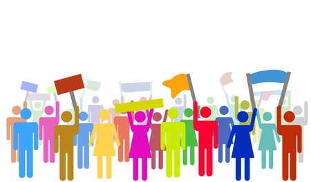 demonstrate: Illustration of many isolated colorful protesters protesting Stock Photo