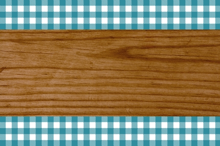 tourquoise: Wooden background with two stripes of white tourquoise tablecloth