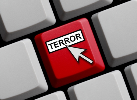 cyber war: Computer Keyboard with mouse arrow showing Terror online