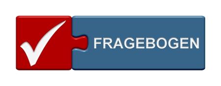 questionaire: Aislado Puzzle bot�n con el s�mbolo que muestra cuestionario en idioma alem�n
