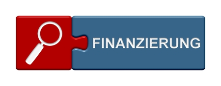 bank records: Isolated Puzzle Button with symbol showing finance in german language