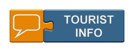information icon: Isolated Puzzle Button with symbol showing Tourist Info