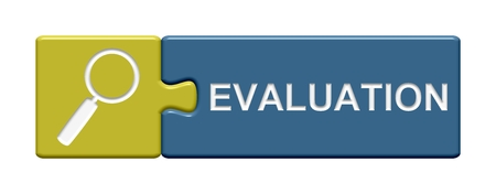 valuation: Isolated Puzzle Button with symbol showing Evaluation