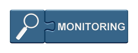 monitoring: Isolated Puzzle Button with symbol showing Monitoring Stock Photo