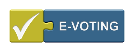 e survey: Isolated Puzzle Button with symbol showing e-voting Stock Photo