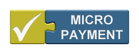 money button: Isolated Puzzle Button with symbol showing Micro Payment Stock Photo