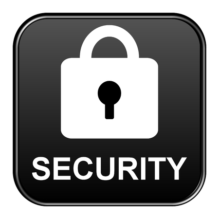 saved: Modern isolated black button with symbol showing Security