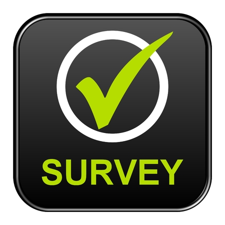 Modern isolated black button with symbol showing Survey Stockfoto