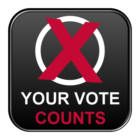 polls: Modern isolated black button with symbol showing your vote counts