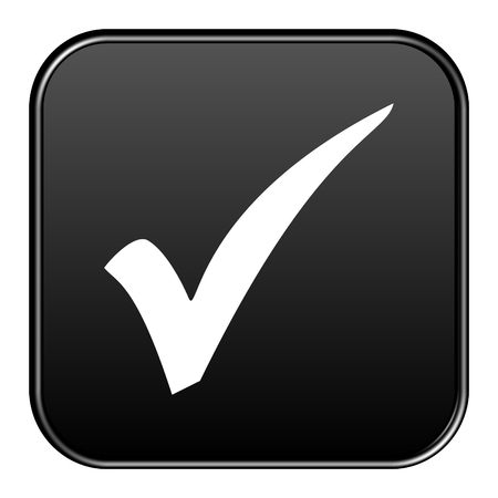 alright: Modern isolated black button with symbol showing hook Stock Photo
