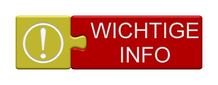 Puzzle Button of two puzzle pieces with symbol showing important info in german language Stock Photo