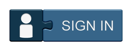 sign in: Puzzle Button of two puzzle pieces with symbol showing sign in in german language Stock Photo