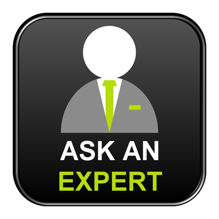competent: Modern isolated black Button with symbol showing ask an expert Stock Photo