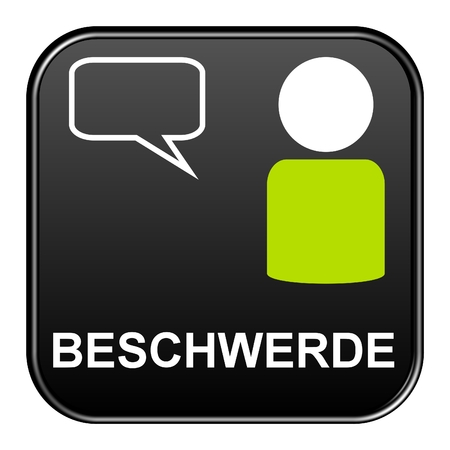complaint: Modern isolated black Button with symbol showing complaint german
