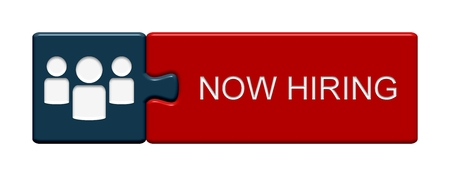 now hiring: Puzzle Button of two puzzle pieces with symbol showing now hiring Stock Photo