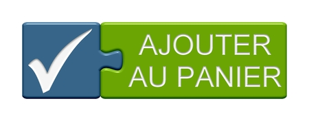 webshop: Puzzle Button of two puzzle pieces with symbol showing add to cart in french language