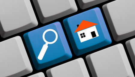 rentals: Search for real estate online - symbols on computer keyboard