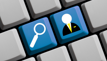 the keyboard: Search for jobs online - symbols on computer keyboard