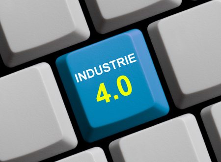 computer language: Industry 4.0 - Blue computer keyboard in german language