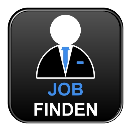 job offers: Modern isolated black Button with symbol showing Find a job in german language
