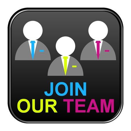 join our team: Modern isolated black Button with symbol showing join our team
