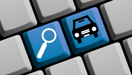 rent: Search for cars online - symbols on computer keyboard