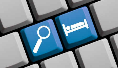 guests website: Search for hotels online - symbols on computer keyboard Stock Photo