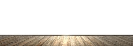 old room: Wooden floor with brown planks and isolated wall for copyspace