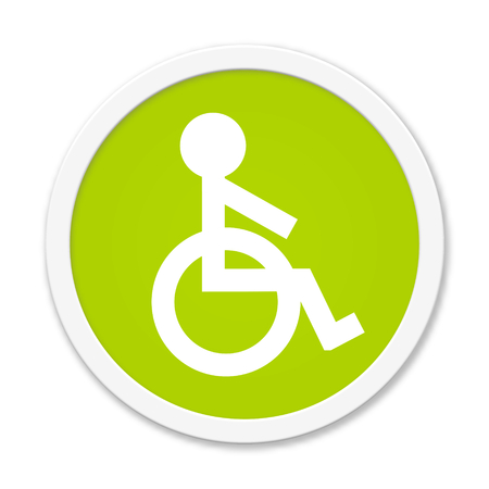 retirement home: Modern isolated green Button with symbol showing wheelchair