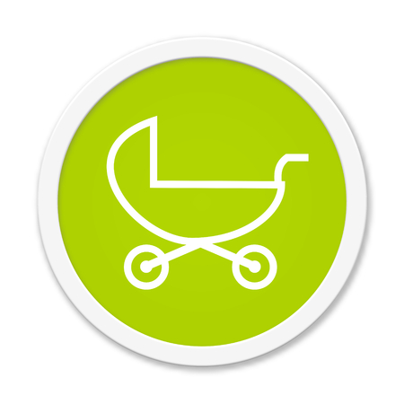 kita: Modern isolated green Button with symbol showing stroller