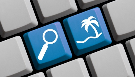 web portal: Search and find your holiday online - symbols on computer keyboard