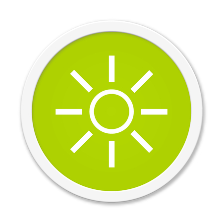energy buttons: Modern isolated green Button with symbol showing sunshine
