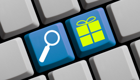 retail place: Search for presents online - symbols on computer keyboard