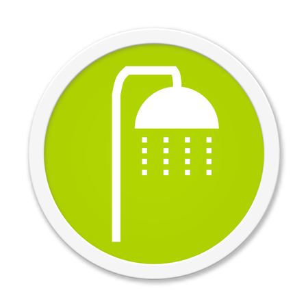 Modern isolated green Button with symbol showing shower