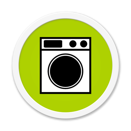 installer: Modern isolated green Button with symbol showing washing machine