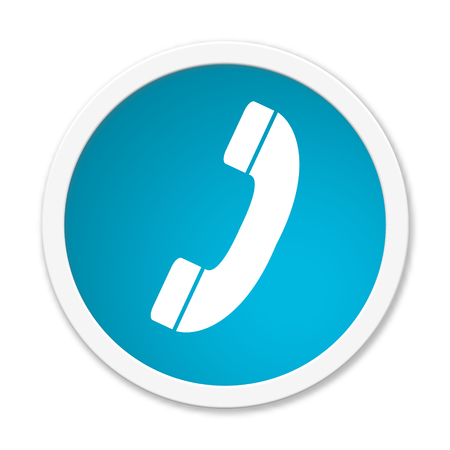 phone and call: Modern isolated blue Button with symbol showing telephone