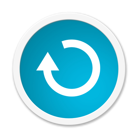 updating: Modern isolated blue Button with symbol showing update