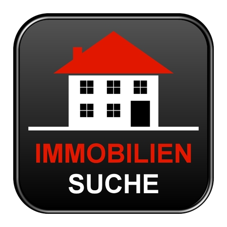 apartment search: Modern isolated black Button with symbol showing search for real estates in german language
