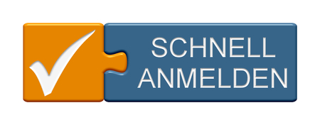 sign orange: Puzzle Button of two puzzle pieces with symbol showing register now in german language Stock Photo