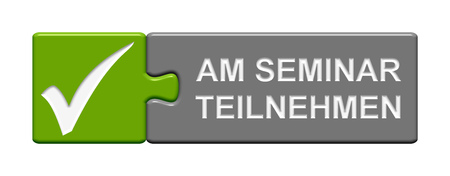 night school: Puzzle Button of two puzzle pieces with symbol showing book seminar in german language