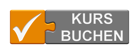 participate: Puzzle Button of two puzzle pieces with symbol showing course booking in german language