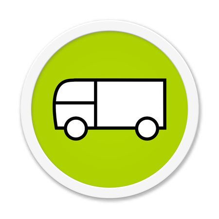 overnight delivery: Modern isolated green Button with symbol showing truck Stock Photo