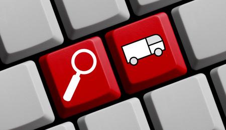 Búsqueda de envío en línea - símbolos en el teclado de ordenador Foto de archivo - 42827725