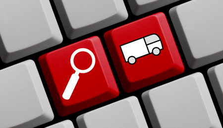 furniture transport: Search for shipping online - symbols on computer keyboard