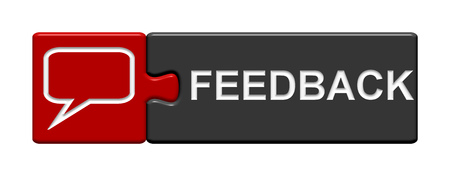 assess: Puzzle Button of two puzzle pieces with symbol showing Feddback red gray Stock Photo
