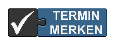 piezas de rompecabezas: Puzzle Button of two puzzle pieces with symbol showing save the date in german language