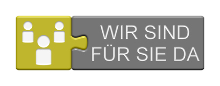 there: Puzzle Button of two puzzle pieces with symbol showing we are there for you in german language