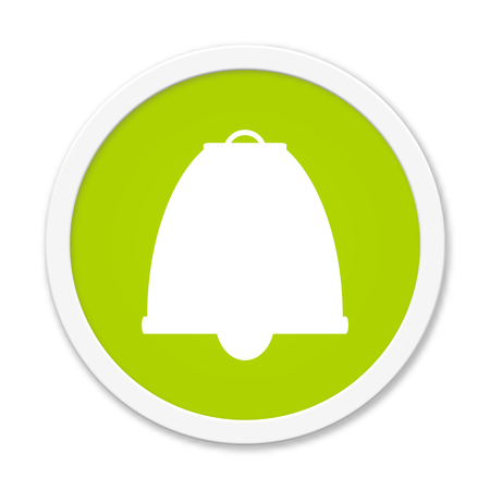 arouse: Modern isolated green Button with symbol showing alarm bell