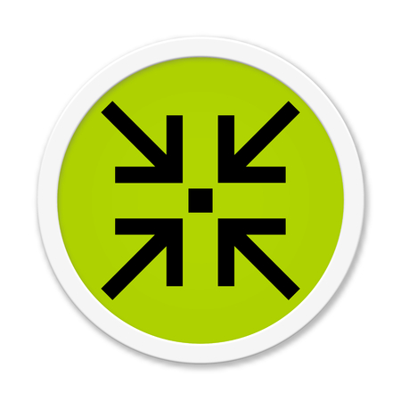 escape route: Modern isolated green Button with symbol showing meeting point